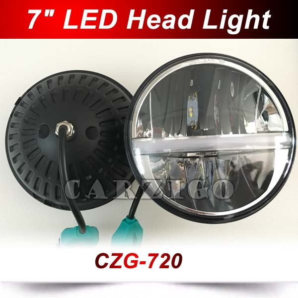 CZG-720 2pcs 7 inch round led headlight 20w with white DRL 7 h4 led headlamp for 4x4 Jeep Wrangler for harley motorcycles