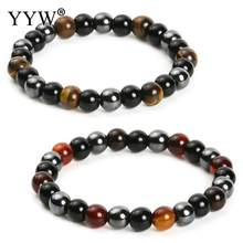 Hematite Black Obsidian Tiger Eye Stones Strand Beaded Stretch Bracelets Powerful Energy Men Women Jewelry 8mm 10mm options(China)