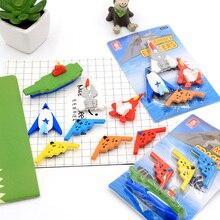 4 pcs /lot Creative aircraft carrier fighter fleet rubber eraser stationery office school supplies papelaria gift for kids