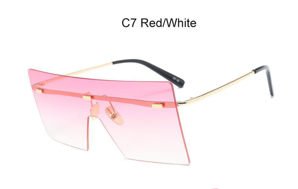 Oversize Brown Sunglasses 2020 Women Retro Vintage Sunglasses Luxury Brand Rimless Eye wear Big Shades 6