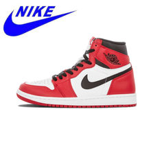 9e5a7da9758a61 Original Nike Air Jordan 1 Retro High OG Chicago Breathable Men s  Basketball Shoes Sports Sneakers Trainers 575441-101