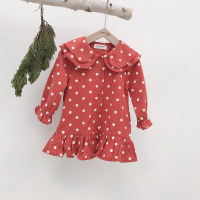 Korea Children's Clothing Dress 2019 Spring New Mori Series Fresh Polka Dot Brushed Baby Girls Dress Child Doll Dresses GDR590