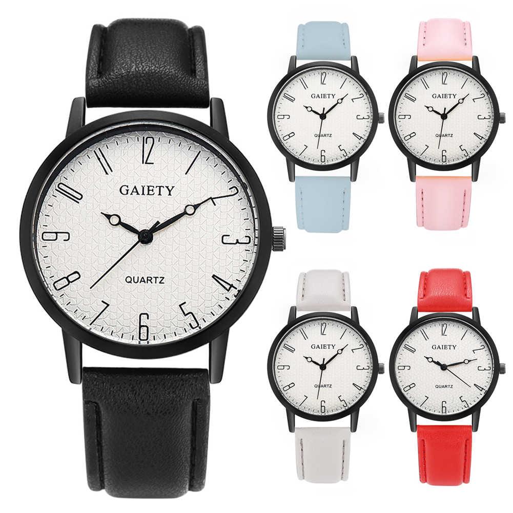 Для женщин арабскими цифрами Круглый циферблат Кварцевые Искусственная кожа наручные часы подарок