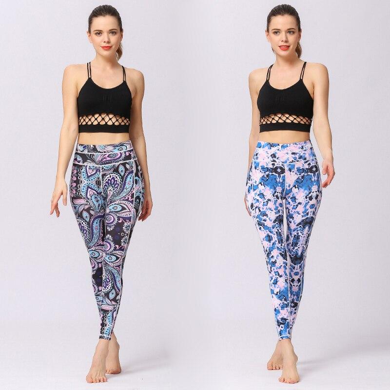 Leggings de Sport femmes pantalons de Yoga entraînement vêtements de Fitness Jogging pantalons de course collants de Gym extensible imprimé vêtements de Sport Yoga Leggins