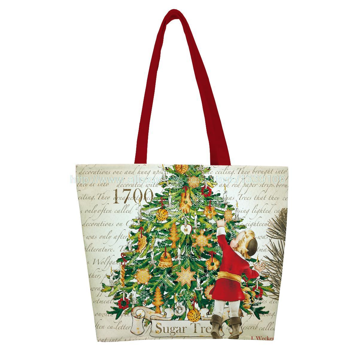 1PC kid pick up the sugar tree print christmas style custom reusable foldable Shopping Bag nylon handbag shoulder tote bags