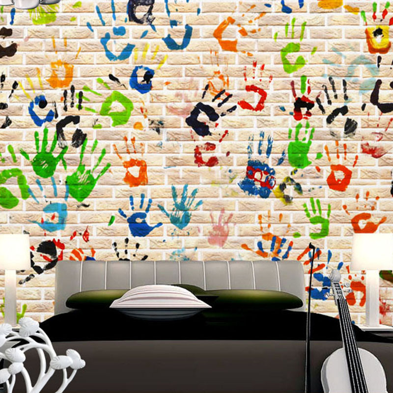 Custom 3D Wallpaper Creative Palm Graffiti Wall Mural Wallpaper For Kids  Living Room Home Improvement Sofa Part 64