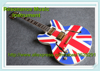 China OEM Left Handed Guitarra Electrica ES 335 Jazz Hollow Body Electric Guitar Flag Top In