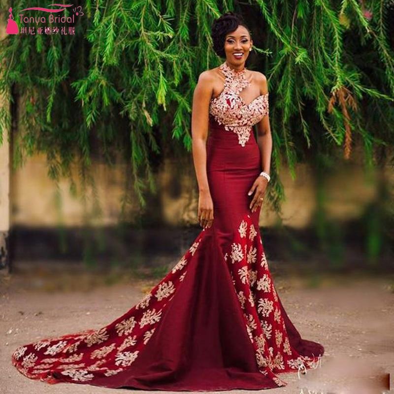Aliexpress.com  Buy Dark Red Fashion Mermaid Prom Dresses Halter Long Elegant African Vestido ...