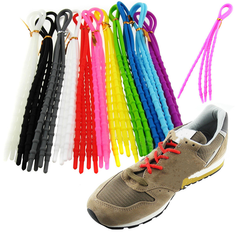 1Pair Women Men Athletic Running X-Tie Lazy Shoelaces Easy Elastic Silicone Shoe Lace Strings Cable Sneaker Straps Rope