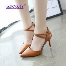 Сандалии женские с острым носком туфли на высоком каблуке ремешок