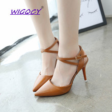 Sandals female summer 2019 new Korean version of pointed high-heeled shoes wild word buckle straps white baotou female shoes 2018 summer new sandals female hollow word buckle high heeled shoes high heels wild with a single shoes women s shoes f072