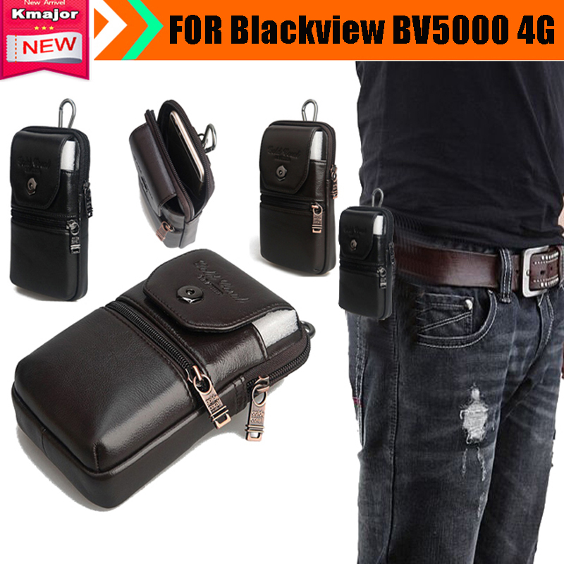 Genuine Leather Carry Belt Clip Pouch Waist Purse Case Cover for Blackview BV5000 4G Waterproof SmartPhone
