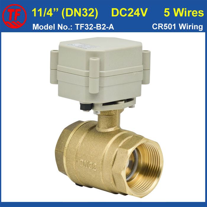 DC24V 5 Wires 11/4'' Actuated Ball Valve With Signal Feedback DN32 Electric Ball Valves BSP or NPT Thread 29mm Bore Metal Gear ac110 230v 5 wires 2 way stainless steel dn32 normal close electric ball valve with signal feedback bsp npt 11 4 10nm