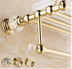 2016 High Quality Brass and Crystal Bathroom Towel Rack Gold Towel Holder Hotel Home Bathroom Storage Rack Rail Shelf high quality oil black fixed bath towel holder brass towel rack holder for hotel or home bathroom storage rack rail shelf