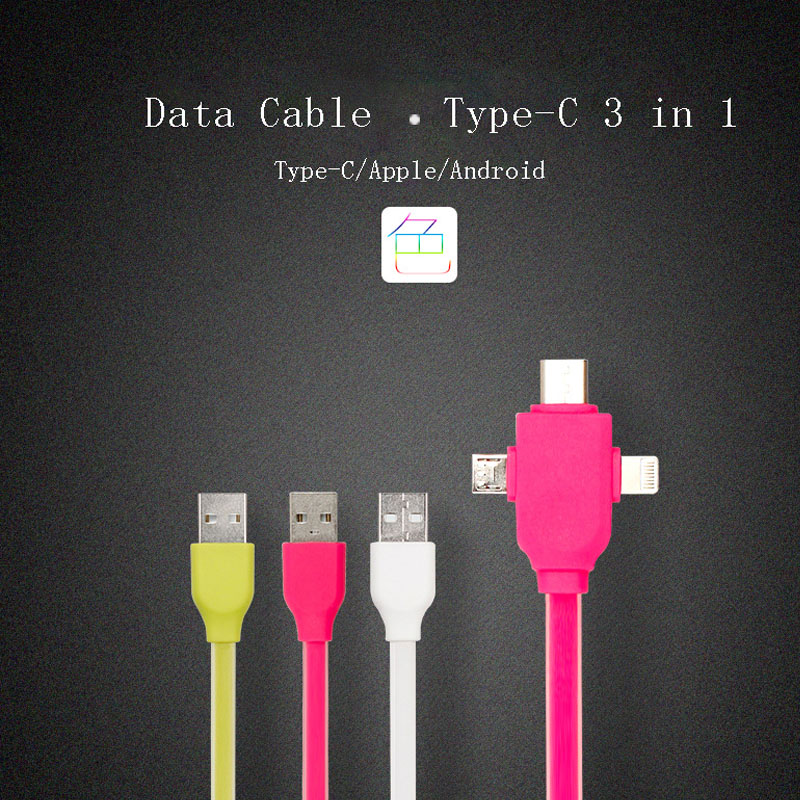 3 in 1 usb type c cable Chargeing & data sync Aplicate to phone case charger cable asamsung galaxye a3 a5 s2 s3 s4 s5 penna usb