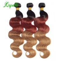 Ombre Three Tone Human Hair Bundles 1/3/4 Bundles Remy Peruvian Body Wave Bundles Deals Color 1B/30/33 Blonde Human Hair Bundles