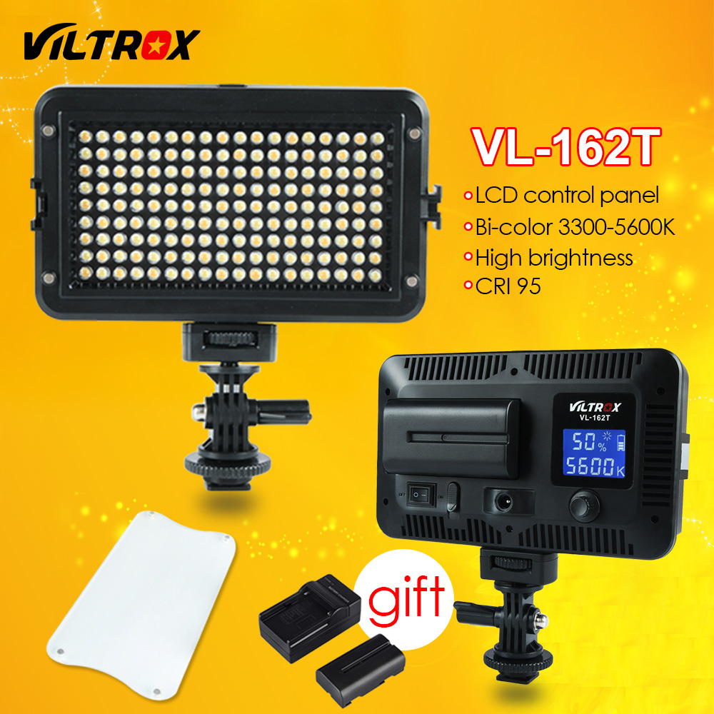Viltrox VL-162T Camera LED Video Studio Light LCD Panel 3300K-5600K Bi-Color Dimmable +Battery+Charger for Canon Nikon Sony DSLR