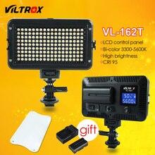 Viltrox VL-162T Camera LED Video Studio Light LCD Panel 3300K-5600K Bi-Color Dimmable +Battery+Charger for Canon Nikon Sony DSLR