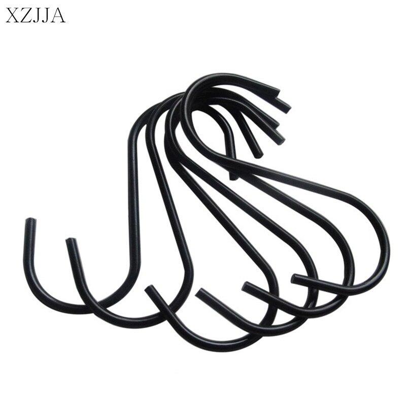XZJJA 3PC Stainless Steel Black S Shaped Hooks Bathroom Kitchen Hanging Hanger Clasp Rack Sundries Organizer Storage Holders