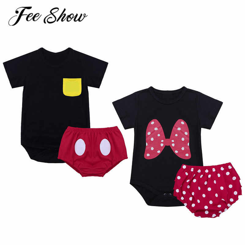 370c3568fde53 Infant Baby Twins Baby Clothes Bodysuit Red Bloomers Toddler Bodysuit Set  Cute 1st Birthday Outfit Boy