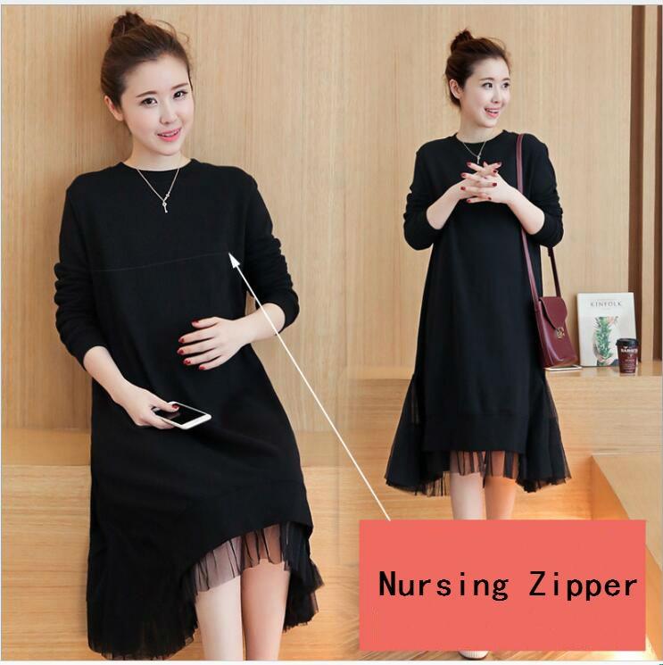 M-3XL Autumn Fashion Maternity Nursing Dress 2018 Spring Fashion Breastfeeding Clothes For Pregnant Women Pregnancy Clothing