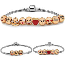 Funny Custom Emoji Beads Charm Bracelets Silver Plated DIY Jewelry Bracelet for Women Men Smiley Emoticon Friendship Gifts(China)