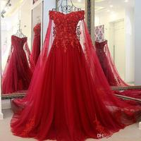 Gorgeous Charming Red Evening Dresses 2017 Tulle Beads Lace Appliques Ball Gown Robe De Soiree Long