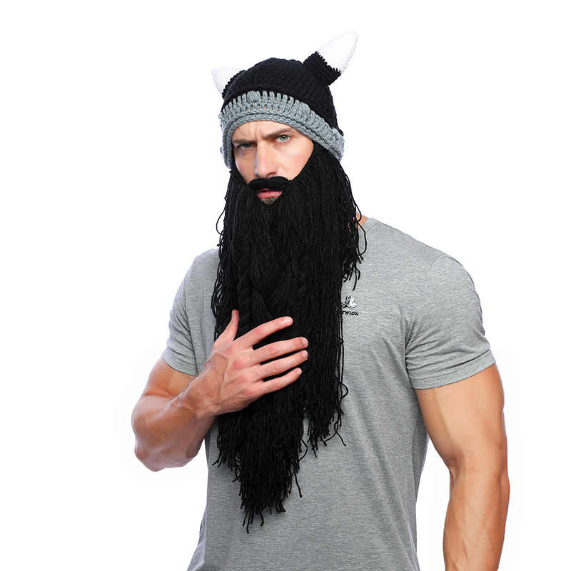 92745852de3 Mnkncl men barbarian vagabond viking beard beanie horn hat handmade winter  warm hat birthday cool gifts