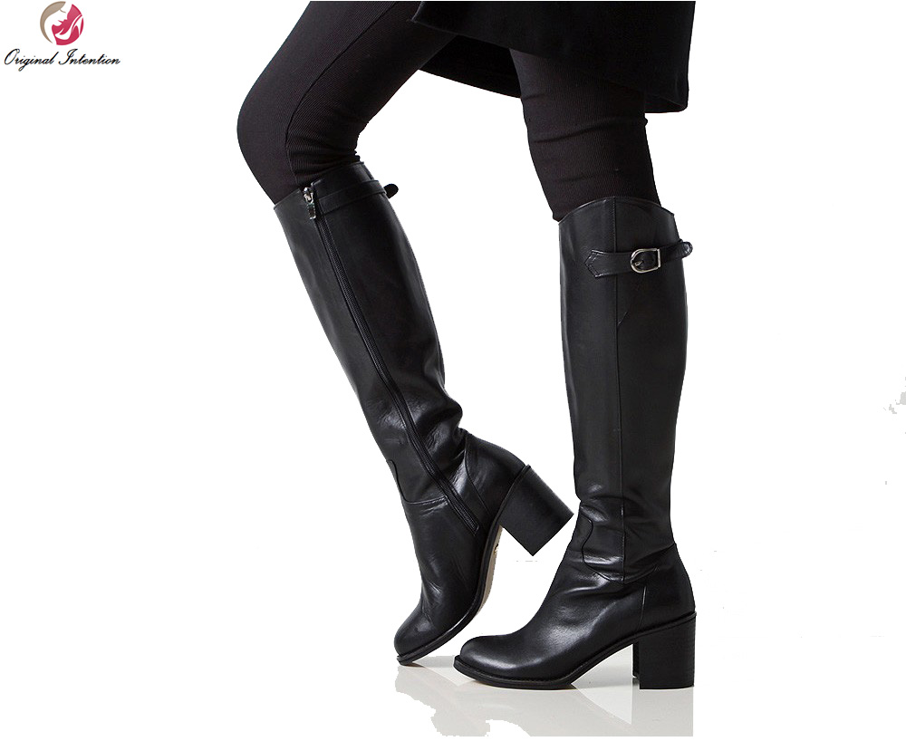 Original Intention High-quality Women Knee High Boots Round Toe Square Heel Winter Boots Elegant Black Shoes Woman Size 4-10.5 women s zip platform square high heel knee high boots fashion winter round toe shoes woman white black apricot