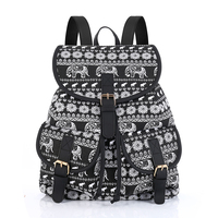 New 2017 Little Elephant Print Canvas Teen Backpack Shcool Bags Bagpack Women Rucksack For Girls Female