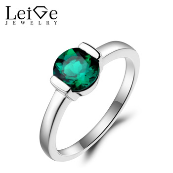 Leige Jewelry Emerald Ring Emerald Wedding Ring May Birthstone Round Cut Green Gemstone 925 Sterling Silver Solitaire Ring Gifts