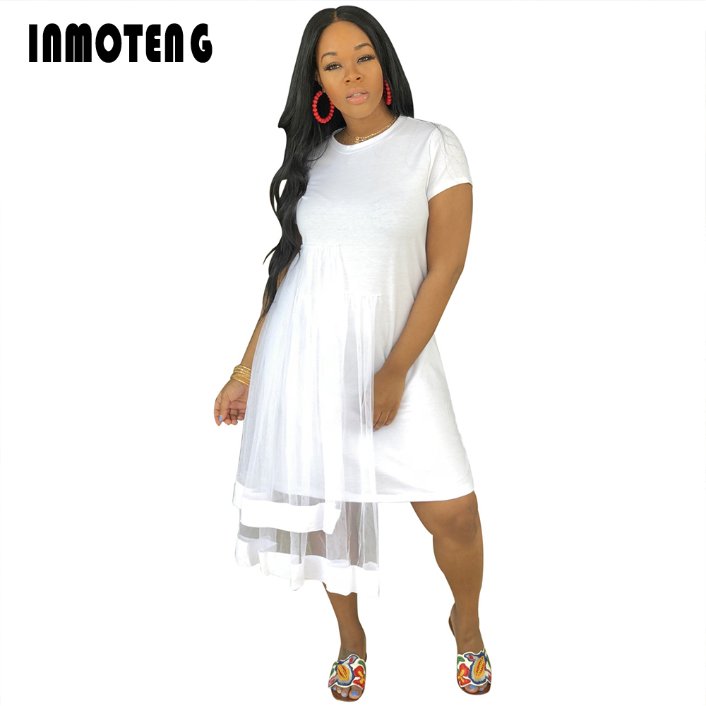 INMOTENG Vestidos Casual Two Layers Lace Patchwork Midi Dress Women Sexy O Neck Short Sleeve A-Line Summer Outwear