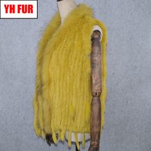 2019 Hot Sale Women Real Rabbit Fur Vest Knitted Tassels 100 Real Genuine Rabbit Fur Gilet Real Raccoon Fur Collar Waistcoat cheap Raccoon Dog Fur Double-faced Fur Real Fur YH-FUR-42927 STANDARD REGULAR With Raccoon Dog Fur Collar Sleeveless Covered Button