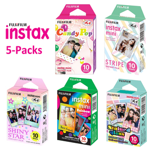 Image 1 - For Fujifilm Instax Mini 11 8 9 25 90 Film Camera, 50 Sheets Instant Photo Rainbow, Stripe, Shiny Star, Candy Pop, Stained Glass