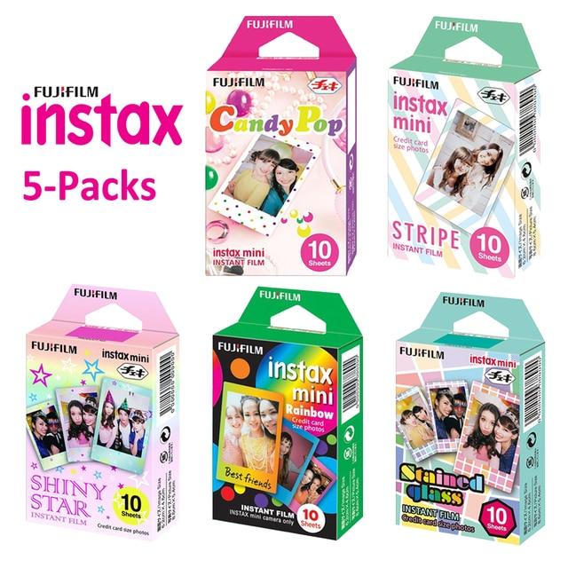 For Fujifilm Instax Mini 11 8 9 25 90 Film Camera, 50 Sheets Instant Photo Rainbow, Stripe, Shiny Star, Candy Pop, Stained Glass