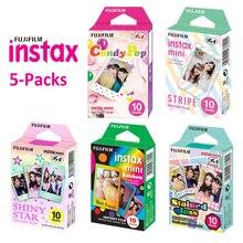 Pour Fujifilm Instax Mini 11 8 9 25 90 Film appareil Photo, 50 feuilles Photo instantanée arc en ciel, rayure, étoile brillante, bonbon Pop, vitrail