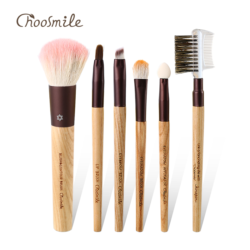 Choosmile Professional Makeup Brush Set Luxury Soft Natural Goat Synthetic Hair Brush 6pcs Portable Beauty Essential Brushes