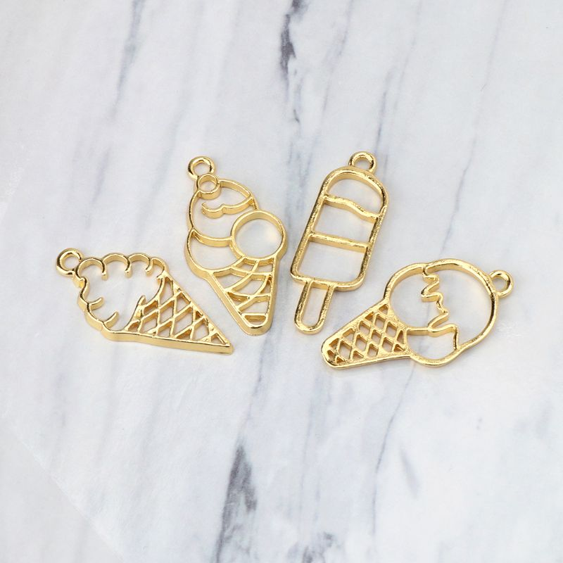 4Pcs Sweet Ice-Cream Food Metal Frames Pendant Blank Bezel UV Resin Jewelry DIY