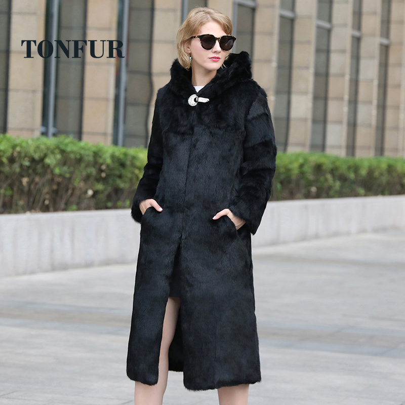 2019 New Arrival Full Pelt Real 100 True Rabbit Fur Long Coat Women Top Fashion Natural