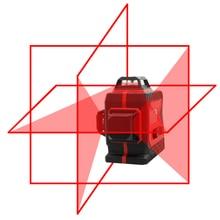 Большой сильный 3D 12 красных линий лазерный уровень толщиной 360 горизонтальный и вертикальный крест супер мощный яркий лазерный уровень