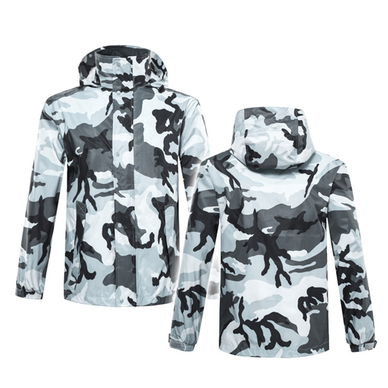 Adult outdoor rainproof camouflage raincoat raingear men and women waterproof rainsuit rainwear rain poncho coat pant