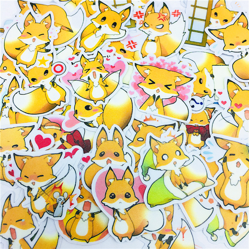 38 PCS Anime Loving Little Fox Stickers Crafts And Scrapbooking Stickers Book Student Label Decorative Sticker Kids Toys