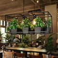 Современная простая люстра из дерева и железа  3 вида кованого железа  горшок для растений  бара  ресторана  балкона  креативная Подвесная ла...