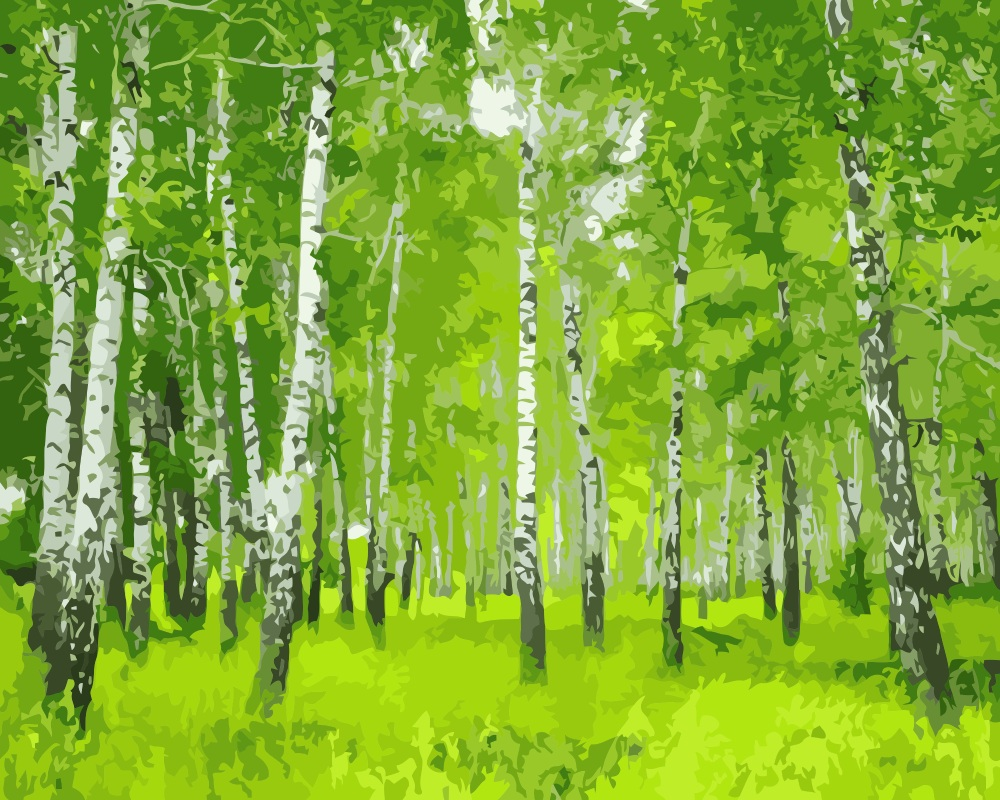Online coloring with paint brush - Mahuaf I006 Painting By Numbers Birch Forest Landscape Wall Decor Canvas Brush Painting Paint Coloring By Numbers Acrylic Craft