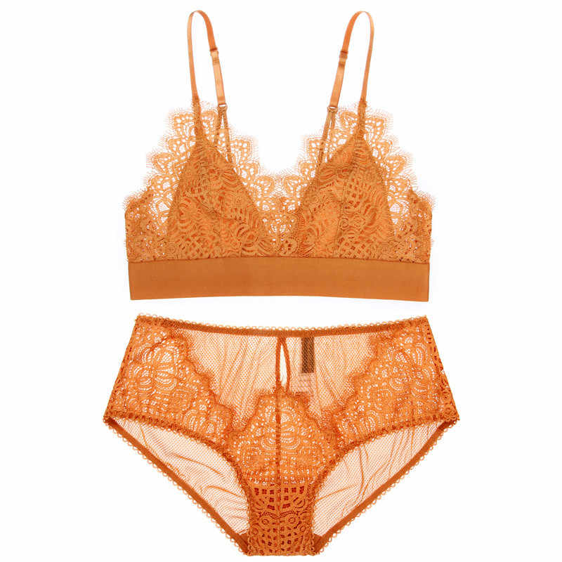 295a99f8e0f European Girl Bras Panty Suit Sexy Ultrathin Lace Triangle Cup Transparent  Eyelashes No Steel Deep V
