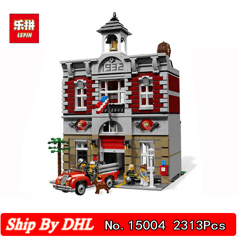 Lepin 15004 Large Building City Street Fire Brigade Model Blocks 2313Pcs Bricks Children's Toys Gift Compatible 10197 DHL dhl lepin 15004 2313pcs city fire brigade model doll house building kits assembing blocks compatible with legoed 10197