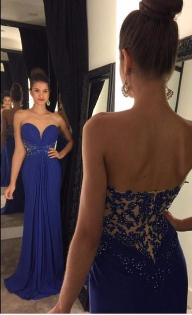 Fashion Chiffon Sweetheart Neck Sequined Long Formal   Prom     Dresses   2019 Backless Appliques Floor Length   Prom     Dress   HFY10502