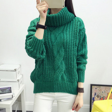Winter Long Sleeve Pullovers Loose Knitted Sweater Female Turtleneck Warm Jumper Outwear Coat Solid Color Women Sweaters 2017