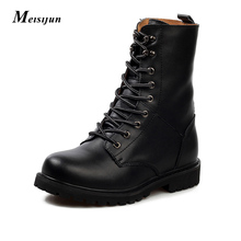MEISIJUN Winter plus/no velvet boots men tooling boots leather combat boots keep warm martin boots