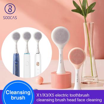 SOOCAS szczotka do czyszczenia twarzy głowy dla Xiaomi Youpin X1 X3 X5 elektryczna soniczna szczoteczka do zębów SOOCAS SOOCARE elektryczna szczotka do masażu X3 tanie i dobre opinie Xiaomi SOOCAS facial cleasing head Silikon Szczoteczki do zębów głowy 1pcs Dorosłych for Xiaomi SOOCAS X1 X3 X5 For SOOCAS SOOCARE x1 x3 x5